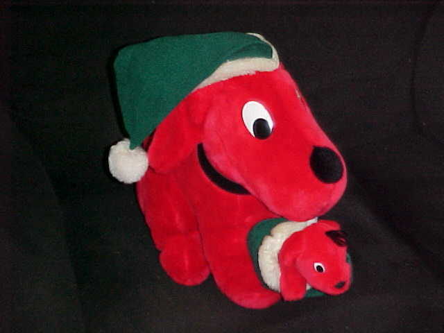 11  X-Mas Clifford The Big Red Dog With Puppy In Mouth By Dakin 1992