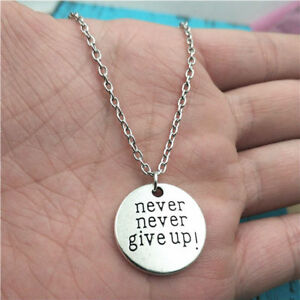 Never give up necklacesilver handmade necklacefashion charm image is loading never give up necklace silver handmade necklace fashion aloadofball Images