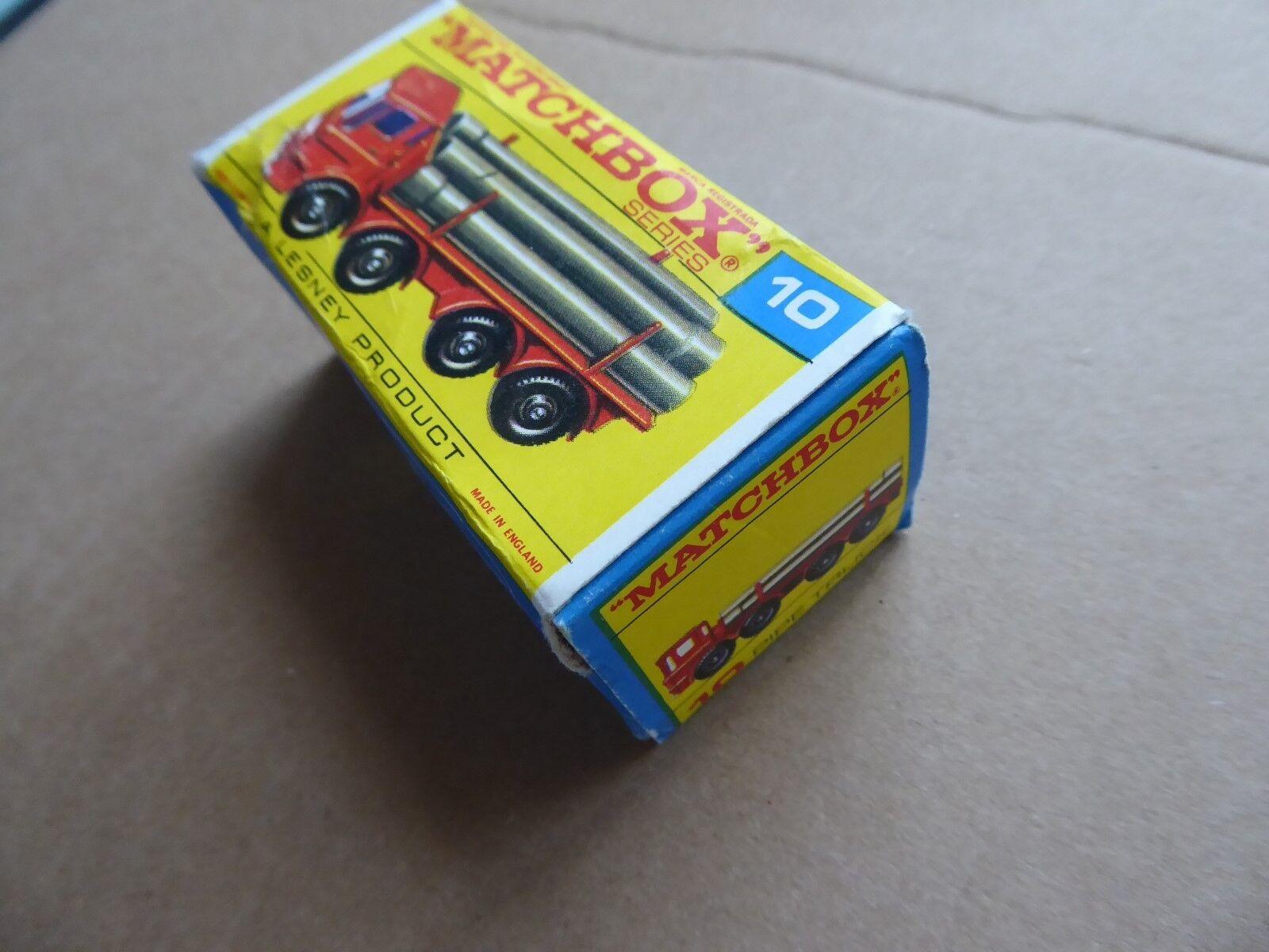Matchbox número 10-Pipe Camión-Original-En Excelente Excelente Excelente Condición-Con Caja 657f9b