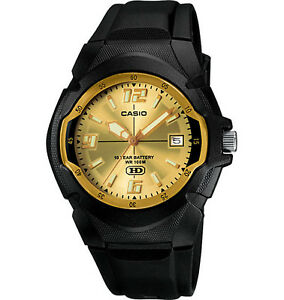 Casio-Men-039-s-Quartz-Gold-Tone-Date-Dial-Black-Resin-41-5mm-Watch-MW600F-9AV