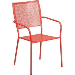 Flash Furniture Coral Indoor-Outdoor Steel Patio Arm Chair with Square Back NEW