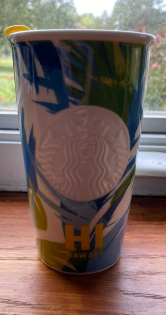 Starbucks HAWAII Tropical Palm Ceramic 12 oz Tumbler Travel Mug NEW *FREE SHIP!*