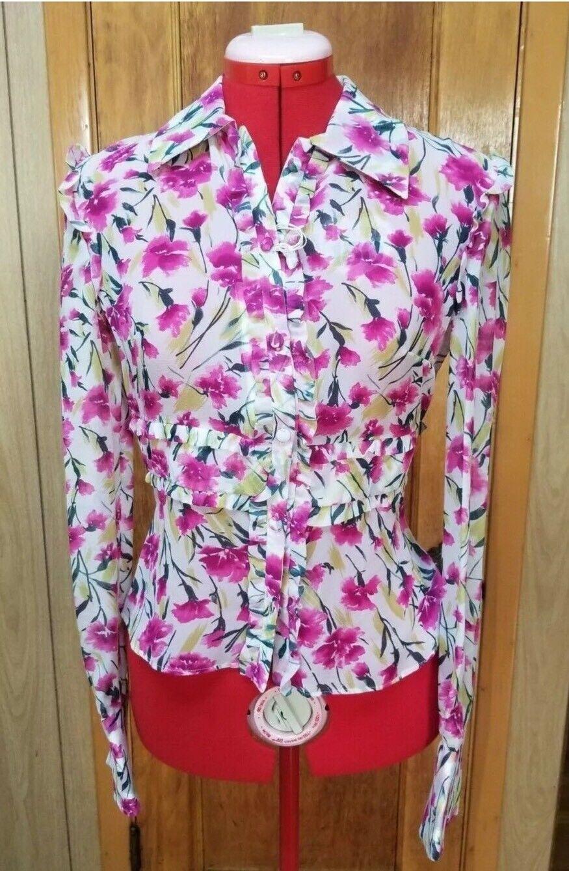Valentino Fabulous Silk Feminine Rosa Floral Pattern Blouse Größe 6, IT 40 42
