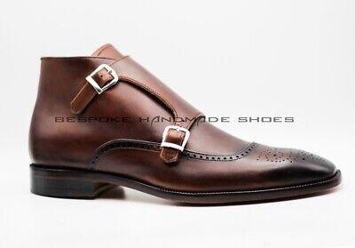 Herren Handarbeit aus echtem Leder Knöchel Double Monk Wingtip Schnalle Stiefel | eBay