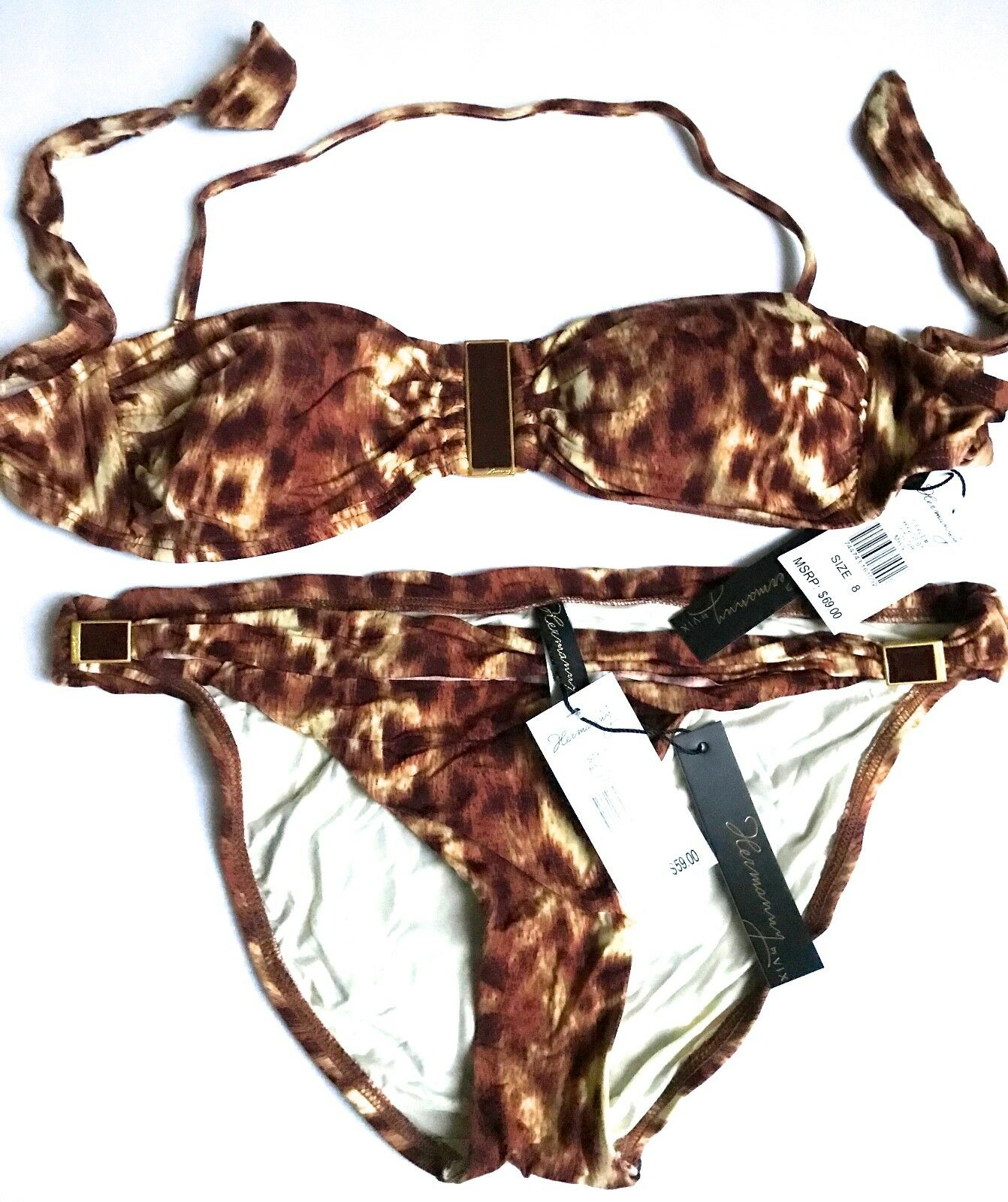BRAND NWT  128.00 HERMANNY BY VIX 2 PC SWIMSUIT BROWN ANIMAL PRINT SIZE 8
