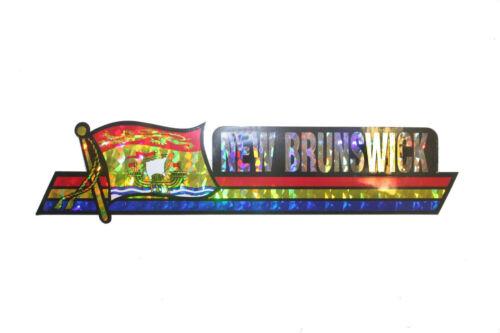 FLAG Metallic LONG Bumper STICKER Decal..11.75 X 3 IN NEW BRUNSWICK CANADA PROV