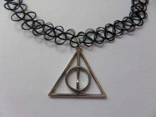 Encanto de Harry Potter en un tramo Negro Collar Tatuaje Gargantilla Vintage Hippy Henna