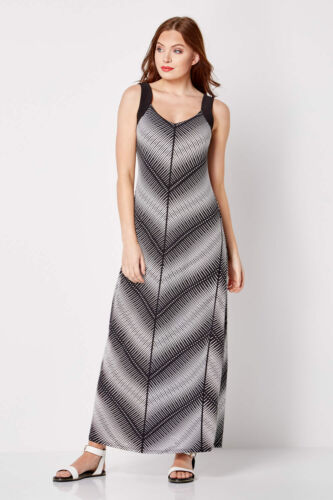 Maxi 20 Originals Sizes Roman Chevron Dress Black Womens 10 Monochrome wPOcqBXf6