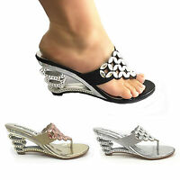 WOMEN LADY DIAMENT WEDGE HEEL PARTY SANDALS WEDDING PROM  BRIDAL IN SILVER  GOL