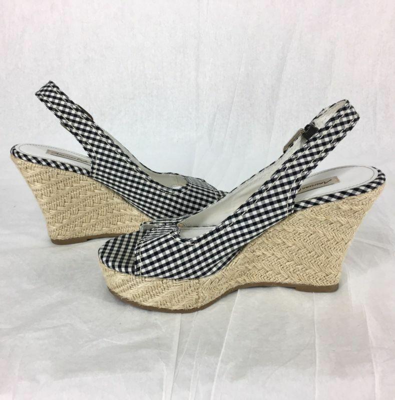 American Eagle Fabric Wedge Heels Open Toe Straps Black White Checked Size 7 EUC