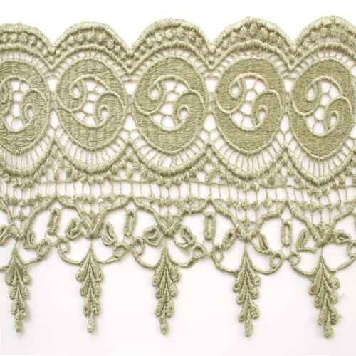 """7.5/"""" Mint Olive Bronze Lilac 21 Colors Wide Venice Lace Trim Guipure By Yardage"""