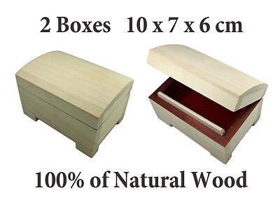 2pcs of Wooden BOX, CHEST 10 x7x6cm, Decoupage FREE EUROPE P&P