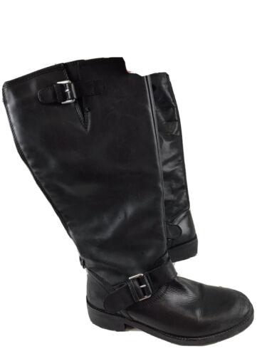 KURT GEIGER London Tall Black Leather Block Heel B