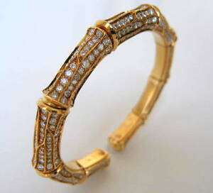 Image Is Loading Cartier Bamboo Collection Diamond Yellow Gold Bangle Bracelet