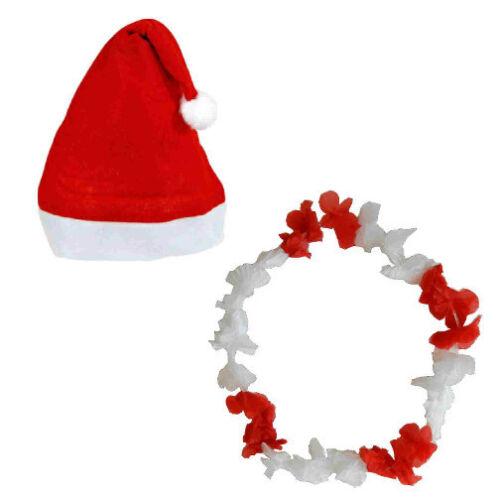 Weihnachtsmütze Hawaiikette rot weiß Weihnachten Weihnachtsmann Nikolausmütze