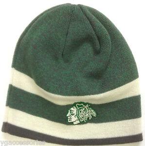 6258f5b4299 Image is loading NHL-Chicago-Blackhawks-Reebok-Cuffless-Winter-Knit-Hat-