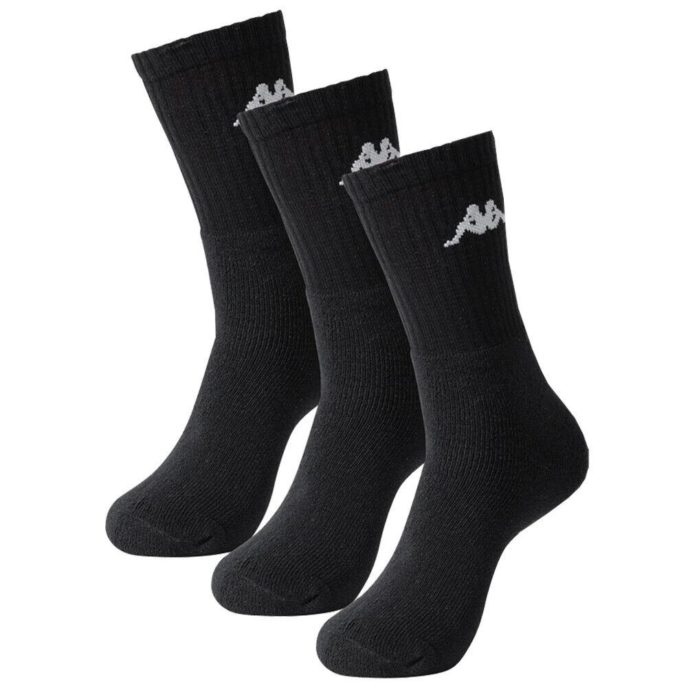 Kappa Unisex Damen Herren wadenlang Sneaker Sportsocken 3 Paar schwarz weiß neu