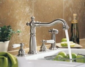 Details about Delta Victorian 2256-SS Stainless Steel Two Handle Kitchen  Faucet w/Sidespray
