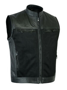 New-Men-black-perforated-biker-genuine-real-cowhide-leather-waistcoat-vest