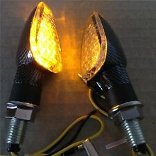 2x Carbon Universal Motorcycle Turn Signal LED Dual Sport dirt bike light blinke
