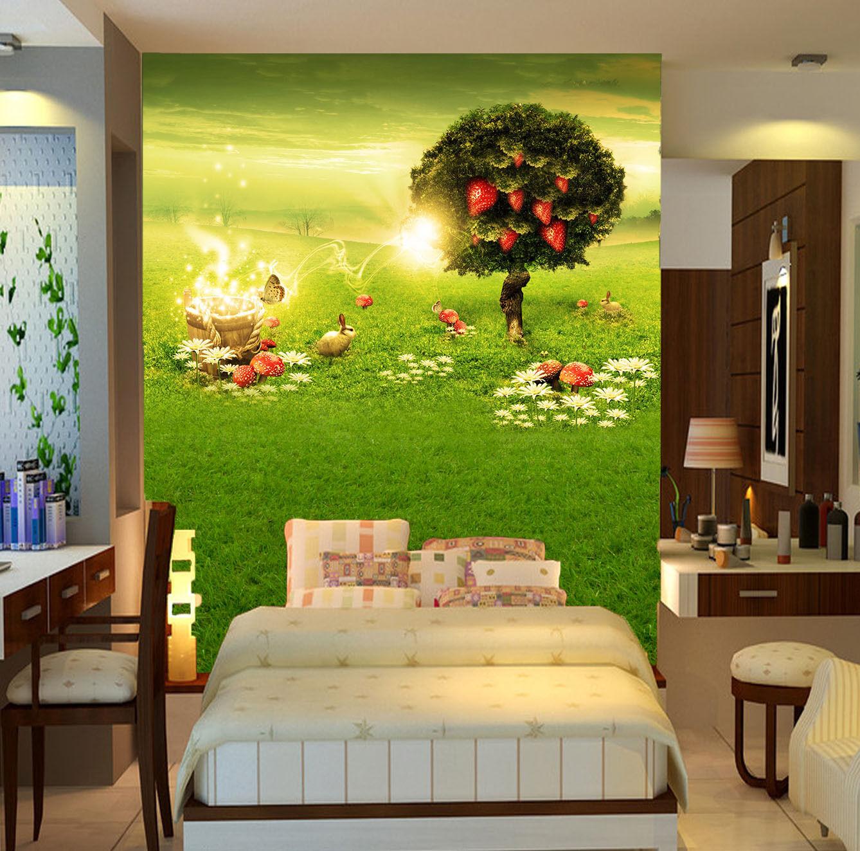 3D Cartoon Fruit Lawn Animals Wall Paper Wall Print Decal Wall AJ WALLPAPER CA