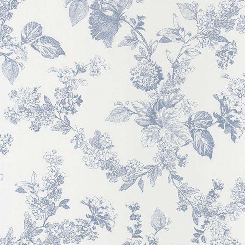 81566202 - Fontainebleau White bluee Floral Casadeco Wallpaper