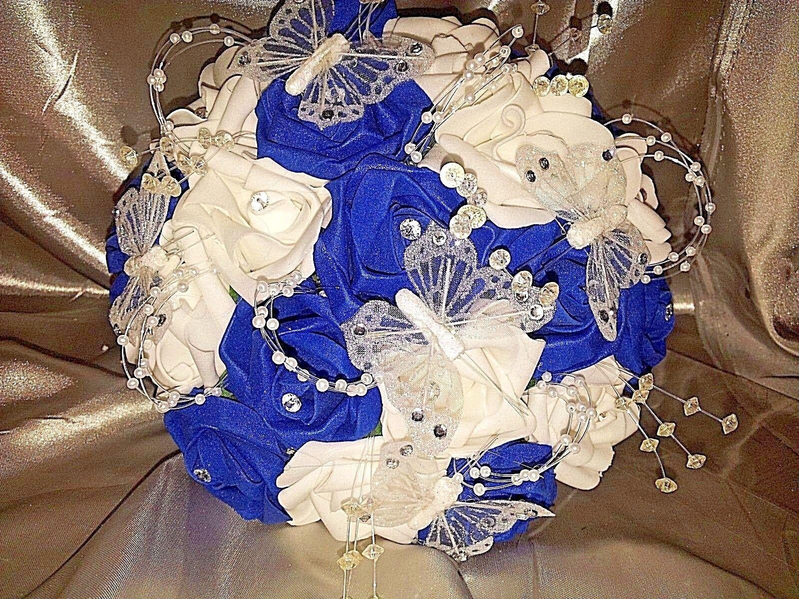 Bleu royal et et et blanc mariage fleur Paquet Teardrop Demoiselles D'honneur Panier à Fleurs | Outlet Store Online  3e51e4