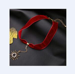 Kropfband-SAMT-Choker-Halsband-Samtband-Trachten-Kette