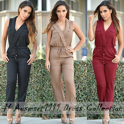 Sexy Sleeveless Collar Neck Stretch Cuffed Legs Jumpsuit Slim Playsuit Bodysuit