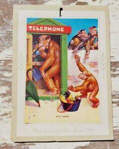 Brown & Bigelow 1947 Calendar Art Salesmans Sample LAWSON monkeys telephone book