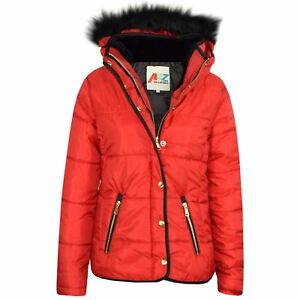 329ee944c572 Girls Jackets Kids Red Padded Puffer Bubble Faux Fur Collar Quilted ...