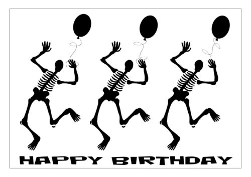 GOTH BIRTHDAY CARD PERSONALISED SKELETON BALLOONS BLACK PURPLE RED A5 MULTI