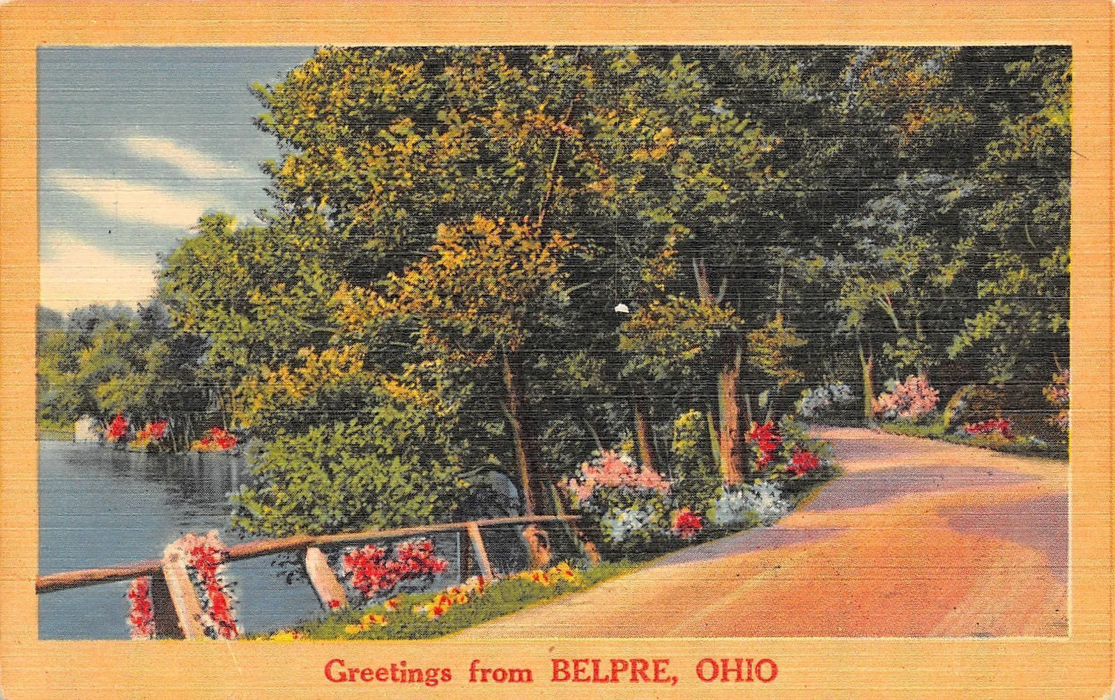 Belpre Ohio~Flower-Lined Road Along the Ohio River~1940s Greetings Postcard