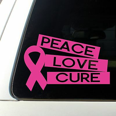 Peace Love Cure cancer decal sticker against Breast leukemia Girl Hot Pink love