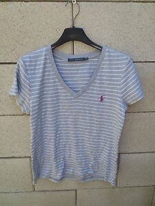 T-shirt RALPH LAUREN SPORT gris rayé blanc femme taille L   G coton ... 04567f468d74