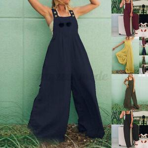Mode-Femme-Combinaison-Sans-Manche-Decontracte-lache-Pantalon-Jambe-Large-Plus