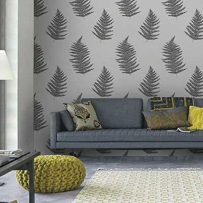 32-449 Graham and Brown Superfresco Verdant Taupe Leaf Motif Feature Wallpaper