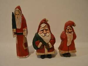3-Hand-Carved-Wood-Santa-Claus-Figurines-2-Signed-Don-Lawrence-Folk-Art