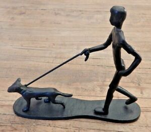 Cast-iron-ornament-Man-walking-running-with-dog-Figurine-home-display-UK-SELLER