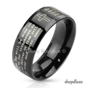 Stainless-Steel-Black-IP-Lord-039-s-Prayer-amp-Cross-Beveled-Edge-Ring-Band-Size-5-13