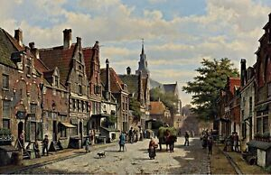 Dutch-Street-Scene-by-Willem-Koekkoek-Giclee-City-Art-Print-Reproduction-Canvas
