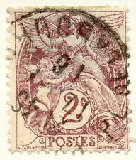 1900 2 Centimes Angels Stamp From France Yt:FR 108 Mi:FR 87x Sn:FR 110 AFA:FR 87