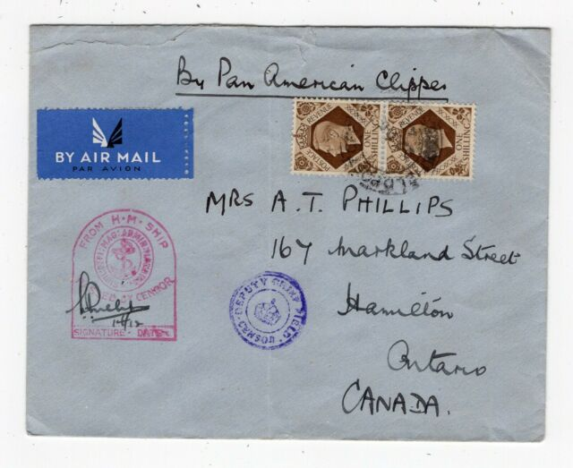 UK GB - FPO 1943 Pan American Clipper Airmail - Navy Censor to ONT Canada # 2