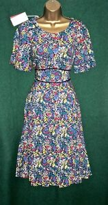 New-MONSOON-UK-8-Blue-Multi-Floral-Ditsy-NATASHA-Summer-Shift-Tea-Dress-RARE
