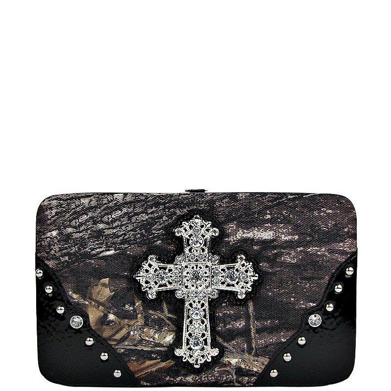 Mossy Oak Camo Rhinesone Cross Clutch Wallet - Ladies Camouflage Black
