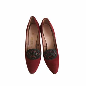 f158c54f532e Vtg 1960s 60s Shoes Connie Red Suede Shoes Art Deco Pumps High Heels ...