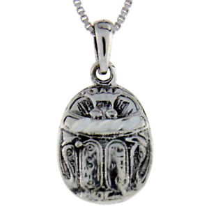 Sterling silver egyptian scarab pendant charm 18 italian box image is loading sterling silver egyptian scarab pendant charm 18 034 aloadofball Choice Image