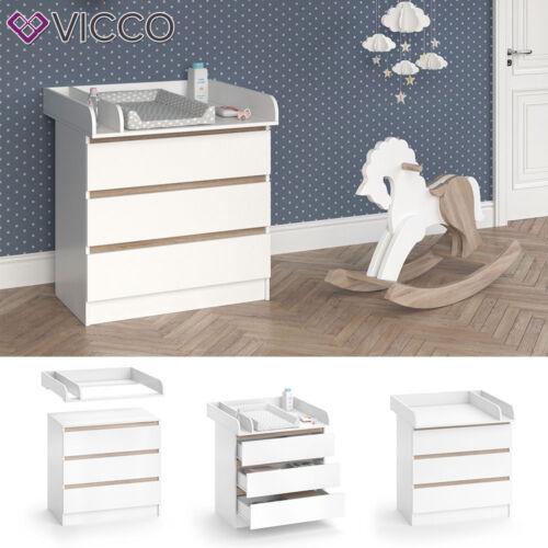 VICCO Wickelkommode Emma - Baby Wickeltisch Kommode mit 3 Schubladen Weiß Sonoma