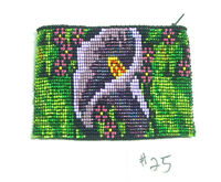 Coin Purse Beaded Floral Pattern Lined Zips Close Fair Trade 25