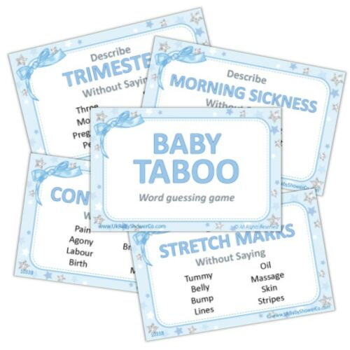 Boy Blue Girl Pink Unisex Word guessing game for Baby Shower Party TABOO